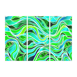 Green Blue Organic Stained Glass Abstract Canvas Print