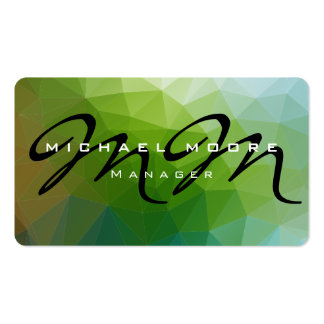 Green Blue Pattern Monogram Creative Stylish Pack Of Standard Business Cards
