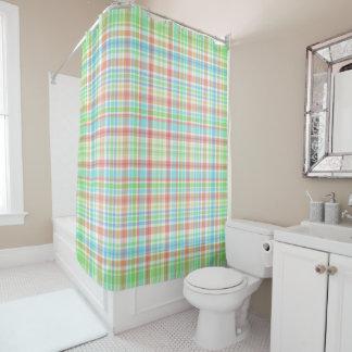 """""""Green, Blue, Peach checkered"""" Shower Curtain"""
