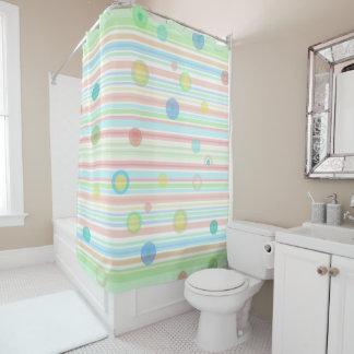 """""""Green, Blue, Peach stripes"""" Shower Curtain"""