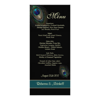Green blue peacock feathers on black  Menu Rack Card Template