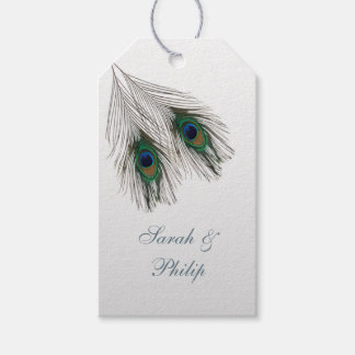 Green blue peacock feathers Wedding Thank You