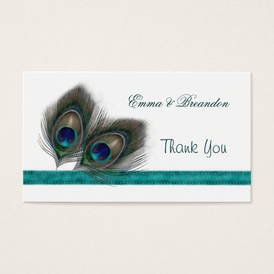 Green blue Peacock feathers Wedding Thank You Business