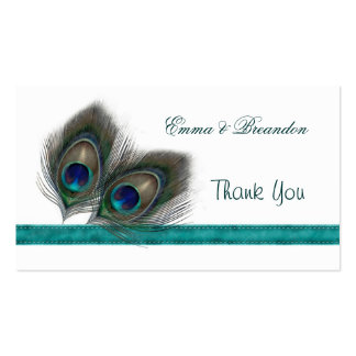 Green blue Peacock feathers Wedding Thank You Pack Of Standard Business Cards