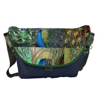 Green Blue Peacock photo collage Commuter Bag