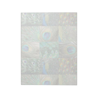 Green Blue Peacock photo collage Notepad