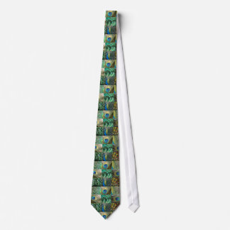 Green Blue Peacock photo collage Tie
