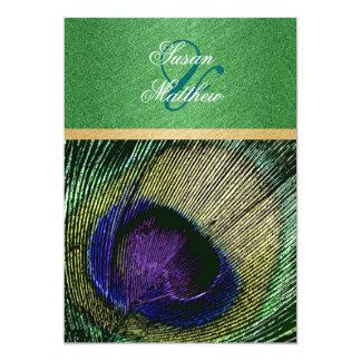 Green blue peacock wedding party 13 cm x 18 cm invitation card