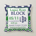Green Blue Personalised Baby Announcement Pillow