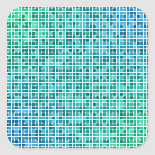 Green blue pixel mosaic square sticker