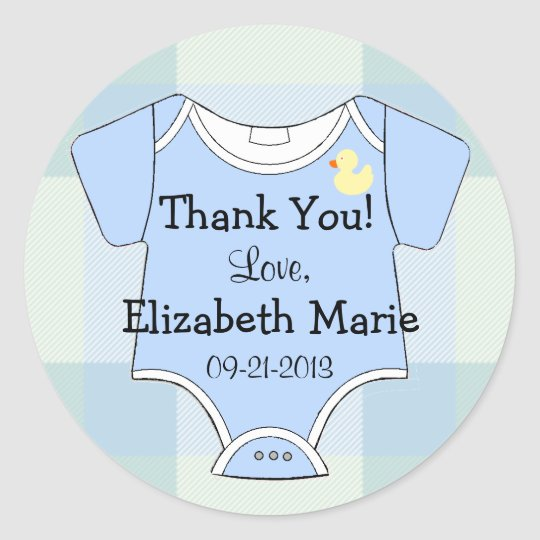 Green Blue Plaid - Baby Outfit Round Sticker
