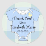 Green Blue Plaid - Baby Outfit Round Stickers