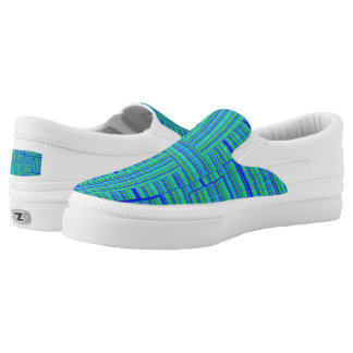 green blue plaid shoe printed shoes