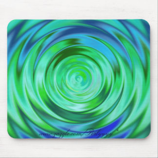 Green & Blue Pond Ripple Mouse Pad