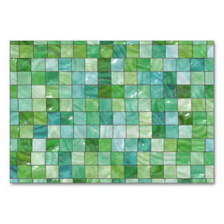 Green Blue Pool Tile Marble Pattern Table Cards