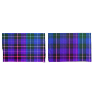 Green blue purple electric plaid pillow cases