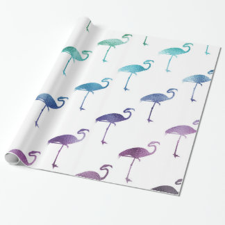 Green Blue Purple Flamingo Watercolor Tropical Wrapping Paper