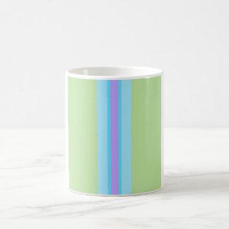 Green, Blue, Purple Striped Basic White Mug