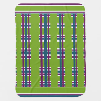 Green Blue Purple Striped Plaid Designer Babies Pramblankets