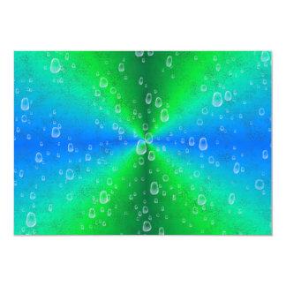 Green blue rainbow with rain drops 13 cm x 18 cm invitation card