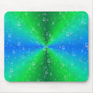 Green blue rainbow with rain drops mousepad