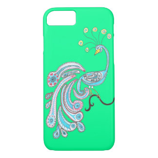 Green Blue Retro Colorful Fantasy Peacock Art iPhone 8/7 Case