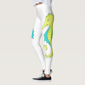 Green Blue Sea Horse Seahorse Ocean Beach Leggings