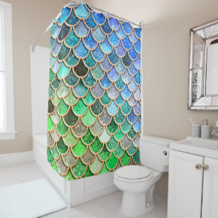 Green Blue Shiny Ombre Glitter Mermaid Scales Shower Curtain