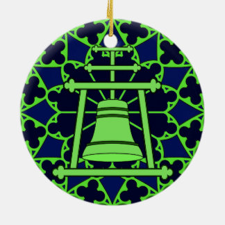 Green/blue Stained Glass Raincross Design Christmas Ornament