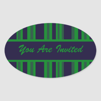 green blue striped party oval sticker