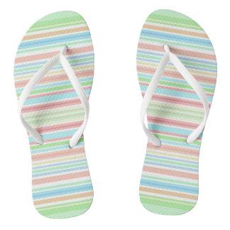 """Green / Blue Stripes"" flip flops with Slim Straps"