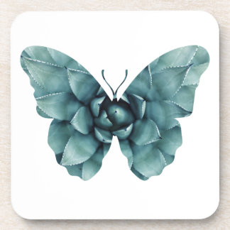 Green blue succulent butterfly silhouette coasters