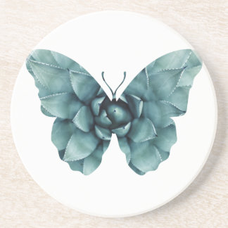 Green blue succulent butterfly silhouette drink coaster