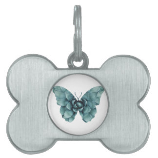 Green blue succulent butterfly silhouette pet name tag