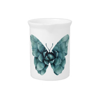 Green blue succulent butterfly silhouette pitcher