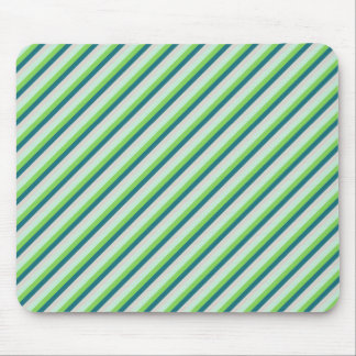 Green, Blue, Teal Diagonal Stripes Mouse Pad
