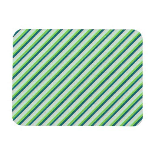 Green, Blue, Teal Diagonal Stripes Rectangular Magnets