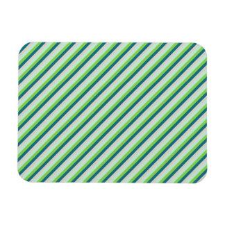 Green, Blue, Teal Diagonal Stripes Rectangular Photo Magnet
