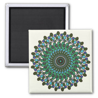 Green Blue Teal Geometric Star Bubble Magnet