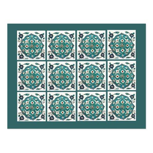 Green-Blue Tile Postcards