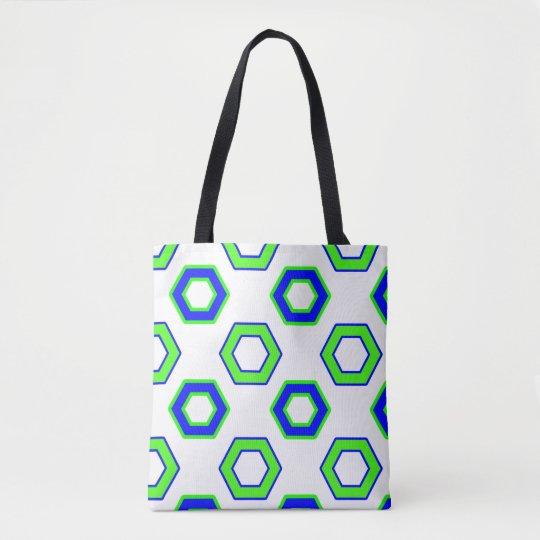 Green & Blue Vector Hexagon Pattern Tote Bag