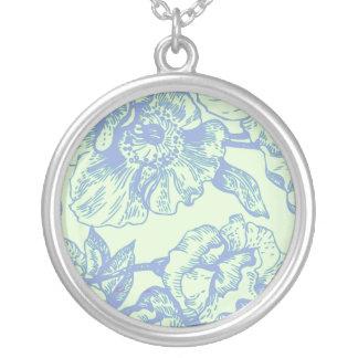 Green & Blue Vintage Floral Necklace