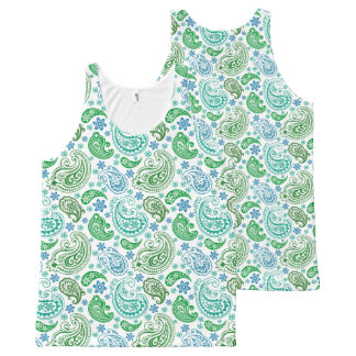 Green & Blue Vintage Paisley Pattern All-Over Print Tank Top
