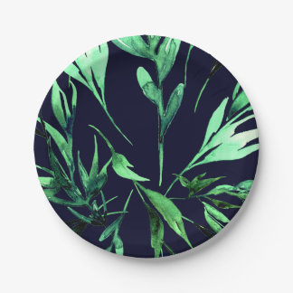 Green Blue Watercolor Botanical Glam Wedding Party Paper Plate