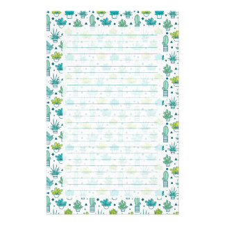 Green & Blue Watercolor Succulent Pattern Stationery