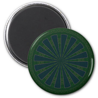 Green & Blue Wheel Kaleidoscope 6 Cm Round Magnet