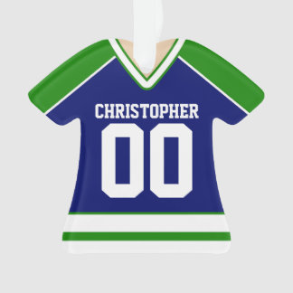 Green/Blue/White Custom Hockey Jersey