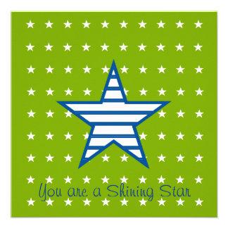 Green Blue White Stars & Stripes Gifts Custom Invitation
