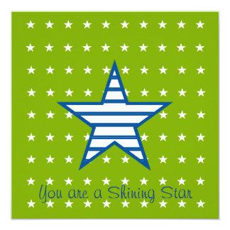 Green Blue White Stars & Stripes Gifts 5.25x5.25 Square Paper Invitation Card