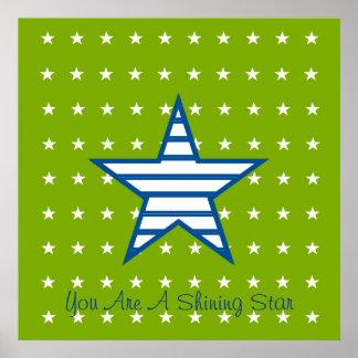 Green Blue White Stars & Stripes Gifts Print